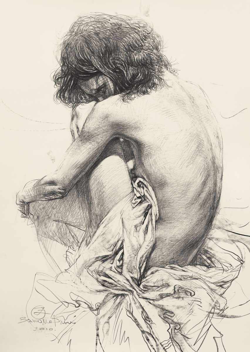 Drawing of a Nude Sitter with Folds