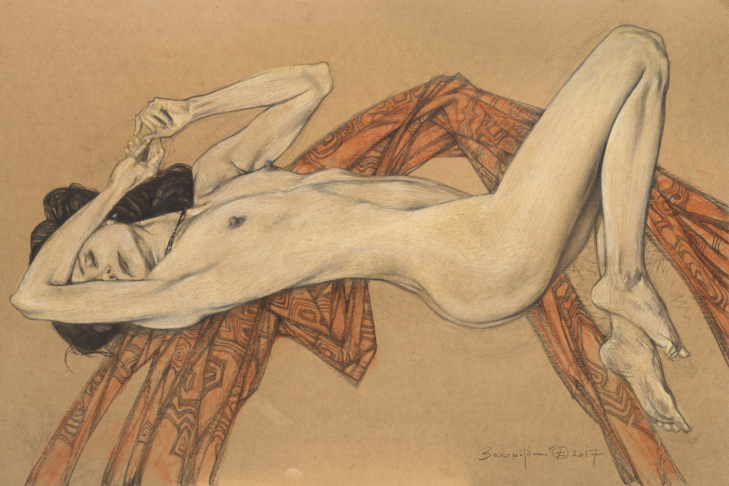 Oleg Zakomorny. Nude model in terracotta draperies. 2017