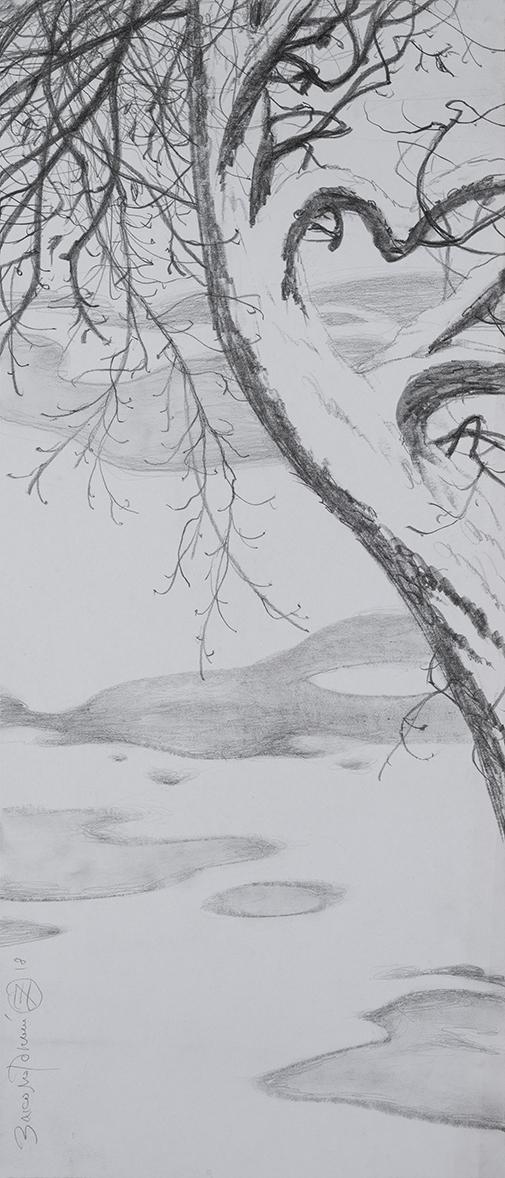 Олег Закоморный. Дерево в зимнем парке. 2018
